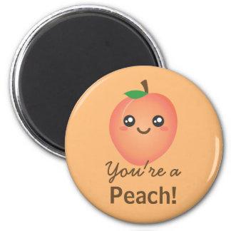 あなたはモモの甘いかわいいのかわいくおもしろいなグルメ マグネット