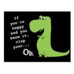 あなたは幸せななら拍手Tのレックスの恐竜のおもしろいな郵便はがき ポストカード