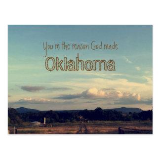 """""""あなたは理由の神はオクラホマ""""の郵便はがき作りました ポストカード"""