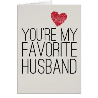 あなたは私のお気に入りのな夫おもしろいな愛カード グリーティングカード