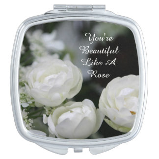 あなたは美しい白いバラのコンパクトの鏡(正方形)