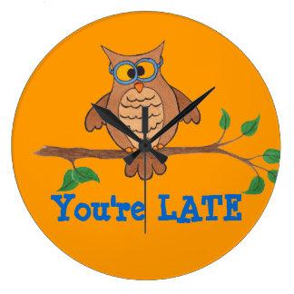"""あなたは遅く""""おもしろいなフクロウ""""の-時計 ラージ壁時計"""