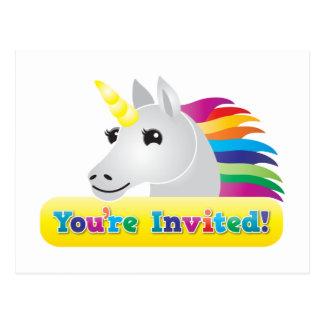 あなたは青の招待の虹のユニコーンのパーティーの招待 ポストカード