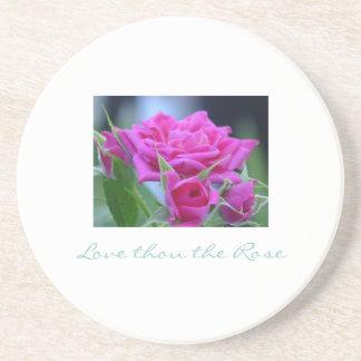 あなたをバラ-暗いピンクのバラのコースター愛して下さい コースター