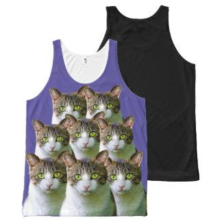あなたを凝視している8匹の猫 オールオーバープリントタンクトップ