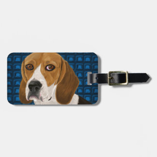 あなたを直接凝視しているビーグル犬-デジタルペンキ ラゲッジタグ