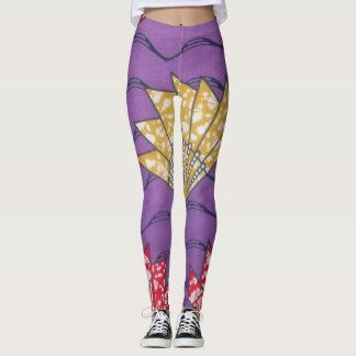 あなた自身のアフリカの衣類パターン紫色を作成して下さい レギンス