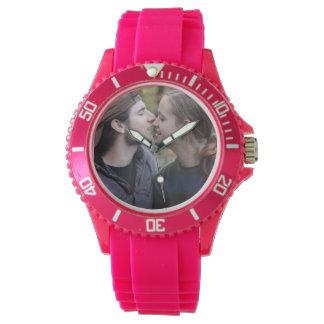あなた自身のカスタムなピンクのスポーティな腕時計を作成して下さい 腕時計