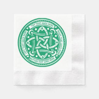 あなた自身のケルト結び目模様のシャムロックの緑のアイルランド語を作成して下さい 縁ありカクテルナプキン