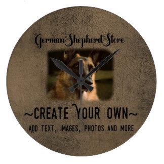 あなた自身のジャーマン・シェパードの写真の時計を作成して下さい ラージ壁時計