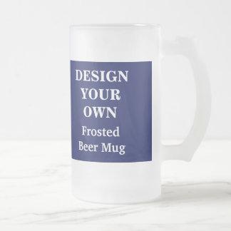 あなた自身のビールのジョッキを-青および白設計して下さい フロストグラスビールジョッキ