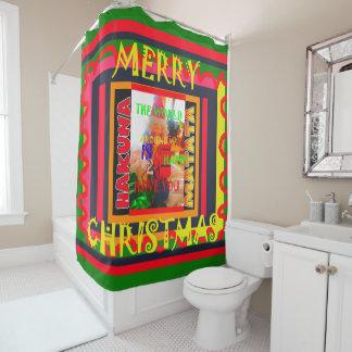 あなた自身のメリークリスマスを個人化しますショーを作成して下さい シャワーカーテン