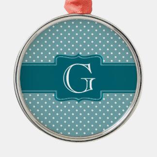 あなた自身のモノグラムのなティール(緑がかった色)のヒスイの水玉模様を作成して下さい メタルオーナメント