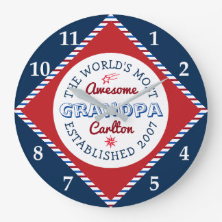 あなた自身の世界の最も素晴らしい祖父のロゴを作成して下さい ラージ壁時計