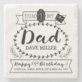 あなた自身の数に1つのパパの誕生日のかわいいモノグラムをして下さい ストーンコースター