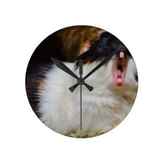 あなた自身の文字のおもしろいなモルモットを加えて下さい ラウンド壁時計