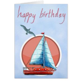 あなた自身の文字を加えて下さい: ヨットの誕生日 カード