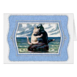 あなた自身の文字を加えて下さい: ロマンチックな猫 カード