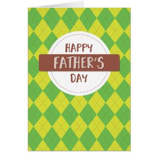 あなた自身の文字を加えて下さい: 父の日の格子縞 カード