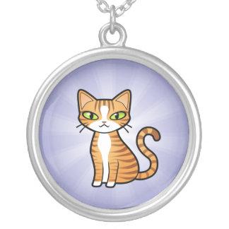 あなた自身の漫画猫を設計して下さい シルバープレートネックレス