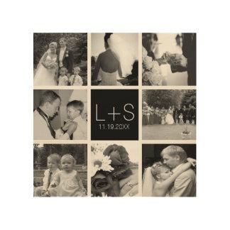 あなた自身の結婚式の写真のコラージュのモノグラムを作成して下さい ウッドウォールアート