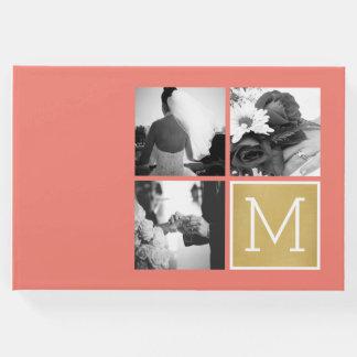 あなた自身の結婚式の写真のコラージュのモノグラムを作成して下さい ゲストブック