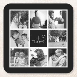 あなた自身の結婚式の写真のコラージュのモノグラムを作成して下さい スクエアペーパーコースター