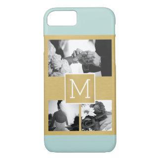 あなた自身の結婚式の写真のコラージュのモノグラムを作成して下さい iPhone 8/7ケース