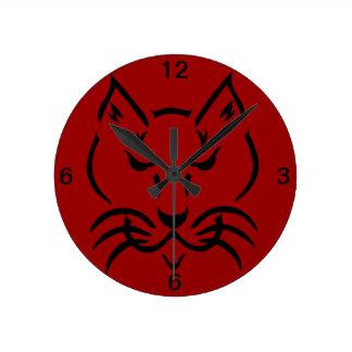 あなた自身の色の「カッコいい猫」の柱時計 ラウンド壁時計