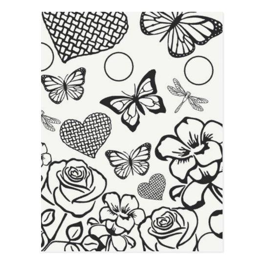あなた自身の郵便はがきの蝶花を着色して下さい ポストカード