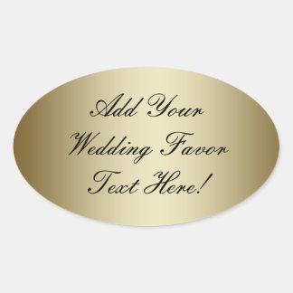あなた自身の金ゴールドの結婚式の引き出物を作って下さい 楕円形シール