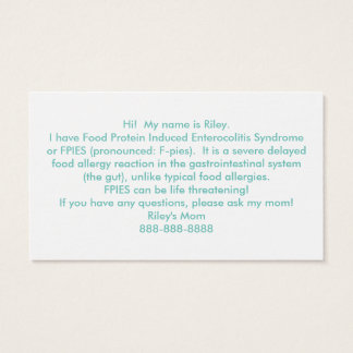 あなた自身の食物アレルギーを配りますカードをカスタマイズ 名刺