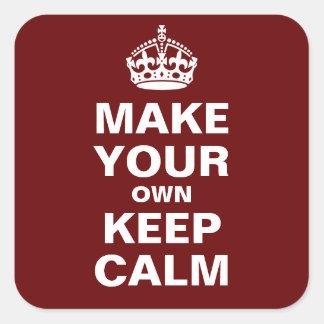 あなた自身のKeep Calm and Carry Onのステッカーを作って下さい スクエアシール