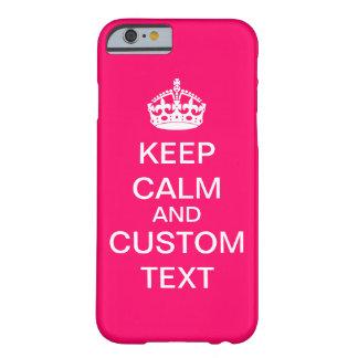 あなた自身のKeep Calm and Carry Onの習慣のピンクを作成して下さい Barely There iPhone 6 ケース