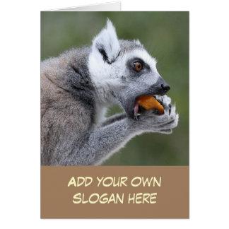 あなた自身をカスタマイズ軽食の写真を持つおもしろいなLemur カード