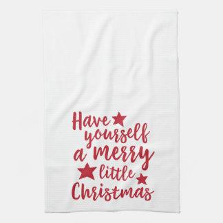 あなた自身をメリーで小さいクリスマスタオル持って下さい キッチンタオル