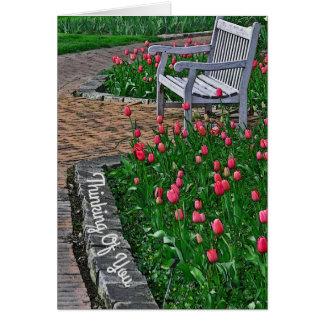 """""""あなた""""の考えることピンクのチューリップが付いている公園の/BENCH カード"""