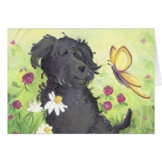 「あなた」のLabradoodleの落書き犬/考えることは梳きます カード