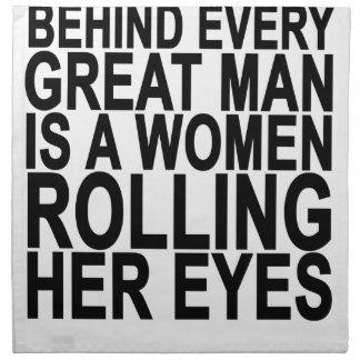 あらゆるすばらしい人の後ろで彼女の目を転がっている女性はです ナプキンクロス