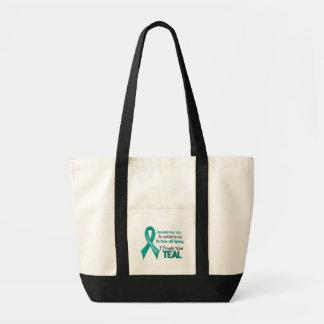 あらゆるのための卵巣癌.....私は得意気にティール(緑がかった色) 1を身に着けています トートバッグ