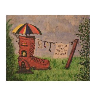 あらゆる古いソックスは古い靴に会います ウッドウォールアート