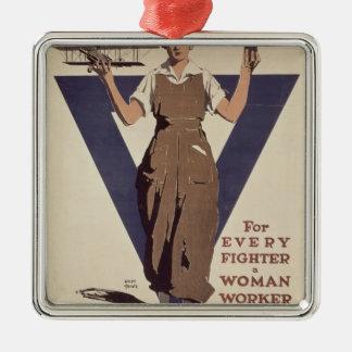 あらゆる戦闘機のため女性労働者 メタルオーナメント