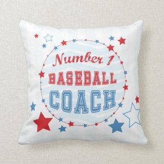 ありがとうのコーチのオールスター野球、赤、青い縞 クッション