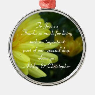 ありがとう: 名前入りな花模様カット メタルオーナメント