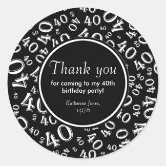 ありがとう: 白黒第40誕生会 ラウンドシール