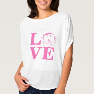 ありますBellaの静かなワイシャツのショッキングピンクL.O.V.E -女性--が人を配置して下さ Tシャツ