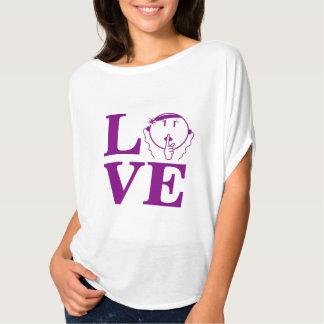 ありますBellaの静かなワイシャツ紫色L.O.V.E -女性--が人を配置して下さい Tシャツ