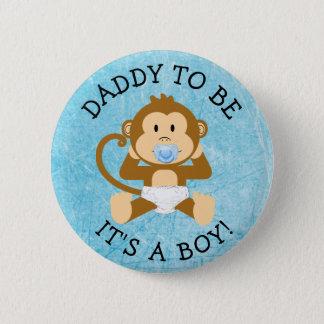 あるお父さん男の子猿のベビーシャワーボタン 5.7CM 丸型バッジ