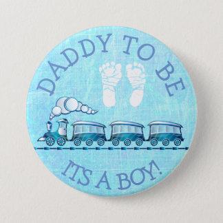 あるお父さん青い列車のベビーシャワーボタン 7.6CM 丸型バッジ