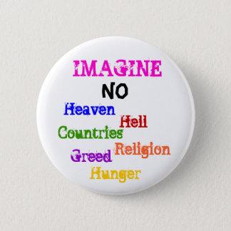、いいえの天国、地獄、国、宗教、…想像しないで下さい 缶バッジ